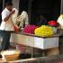 Flower Seller Preparing Temple Garlands