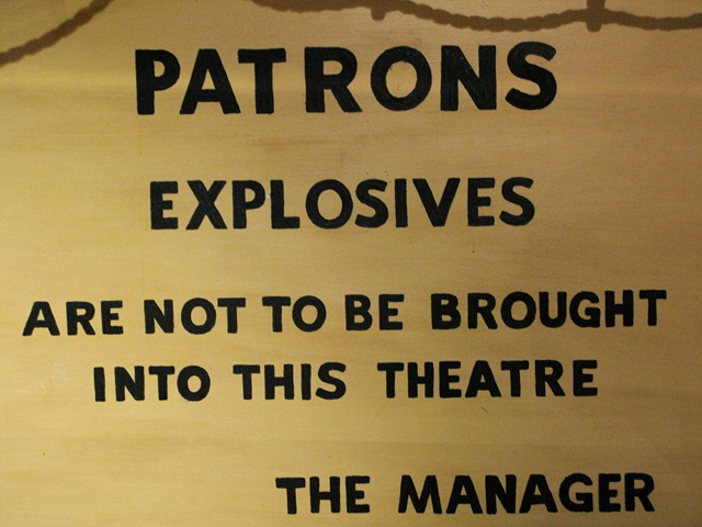 No explosives in theatre