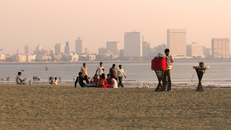 Chowpatty Beach Looking Out To Mumbai Financial District