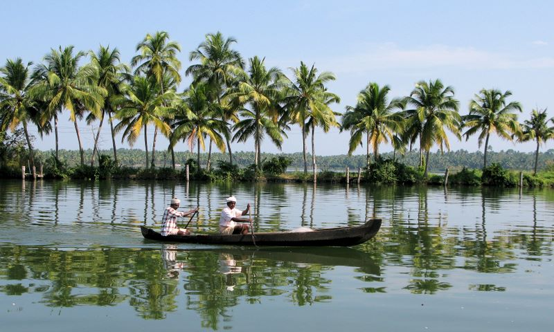 Local Villagers In Kerala Backwaters