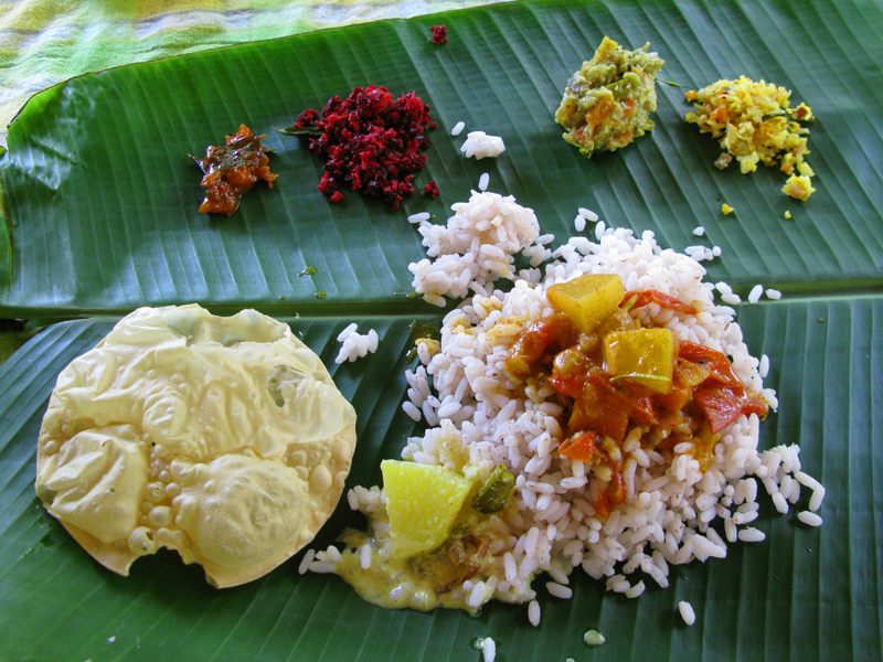 Lunch, Traditionally Served On A Banana Leaf